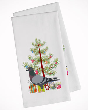 Buy this Racing Pigeon Christmas White Kitchen Towel Set of 2 BB9318WTKT