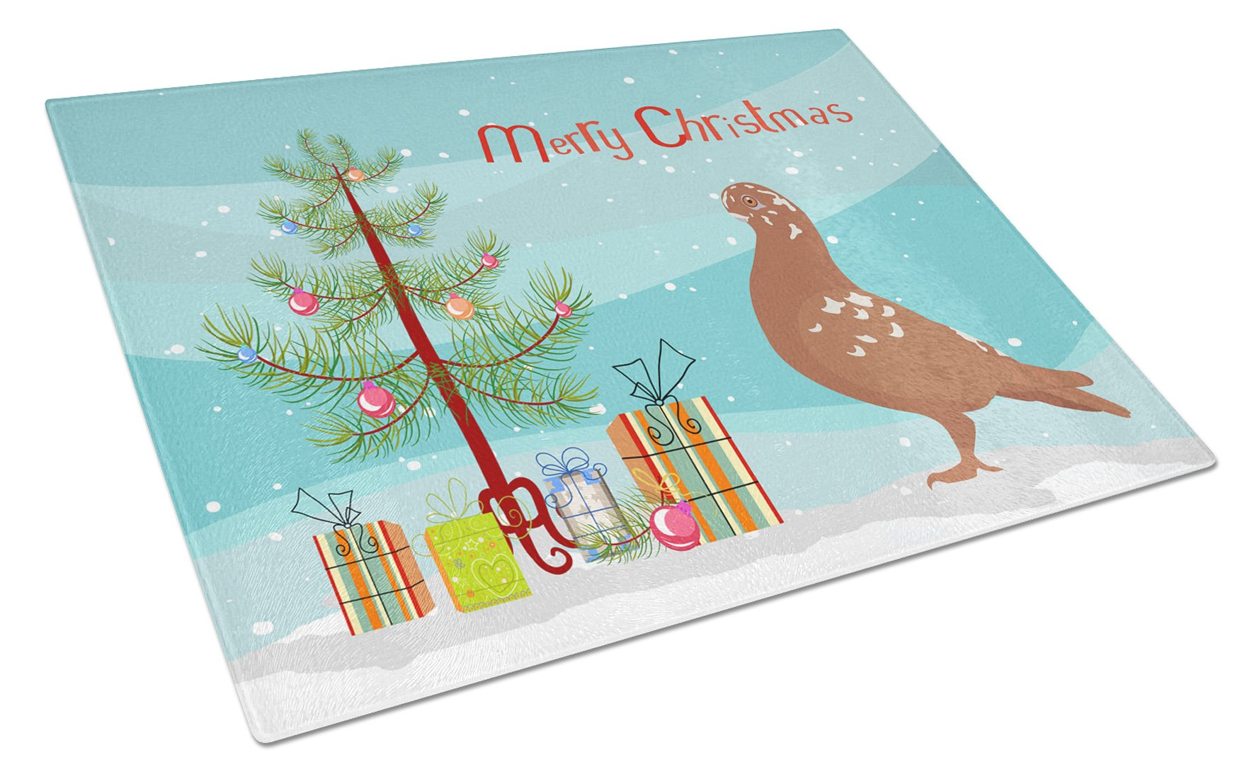 Buy this African Owl Pigeon Christmas Glass Cutting Board Large BB9320LCB