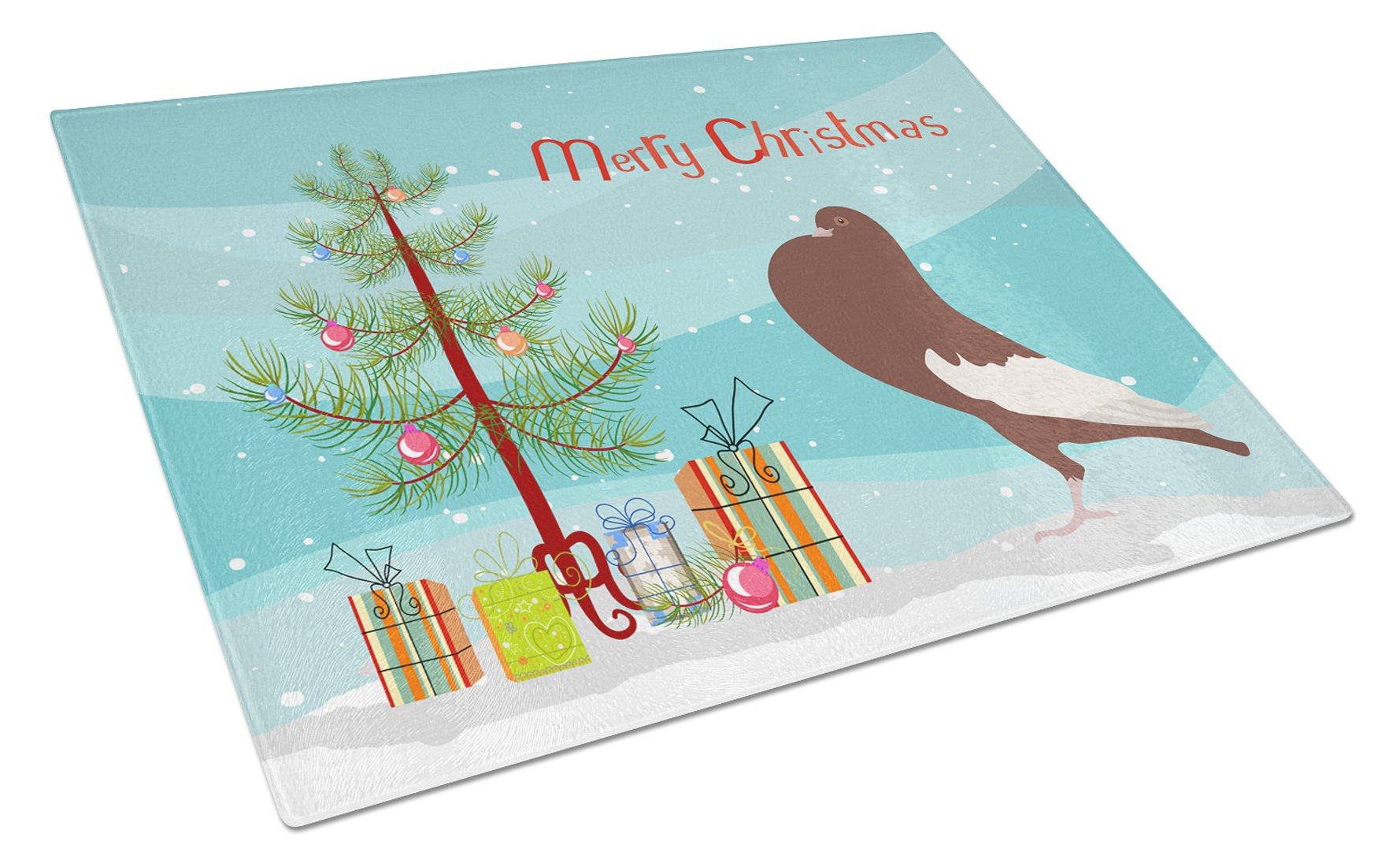 Buy this English Pouter Pigeon Christmas Glass Cutting Board Large BB9321LCB