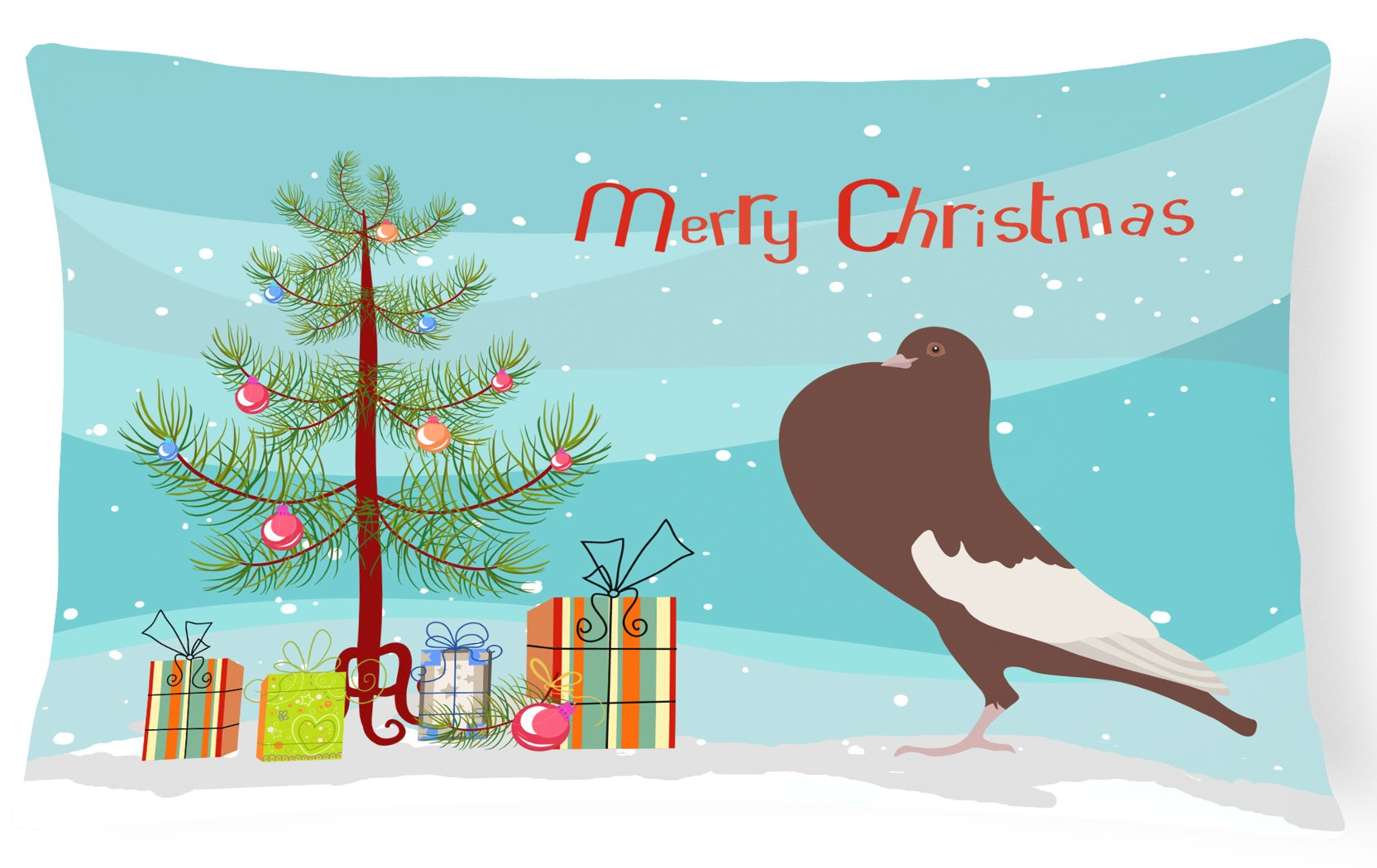 Buy this English Pouter Pigeon Christmas Canvas Fabric Decorative Pillow BB9321PW1216