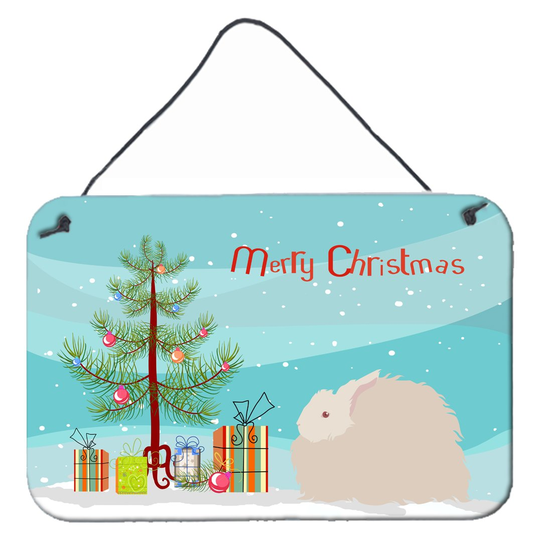 Fluffy Angora Rabbit Christmas Wall or Door Hanging Prints BB9326DS812 by Caroline's Treasures