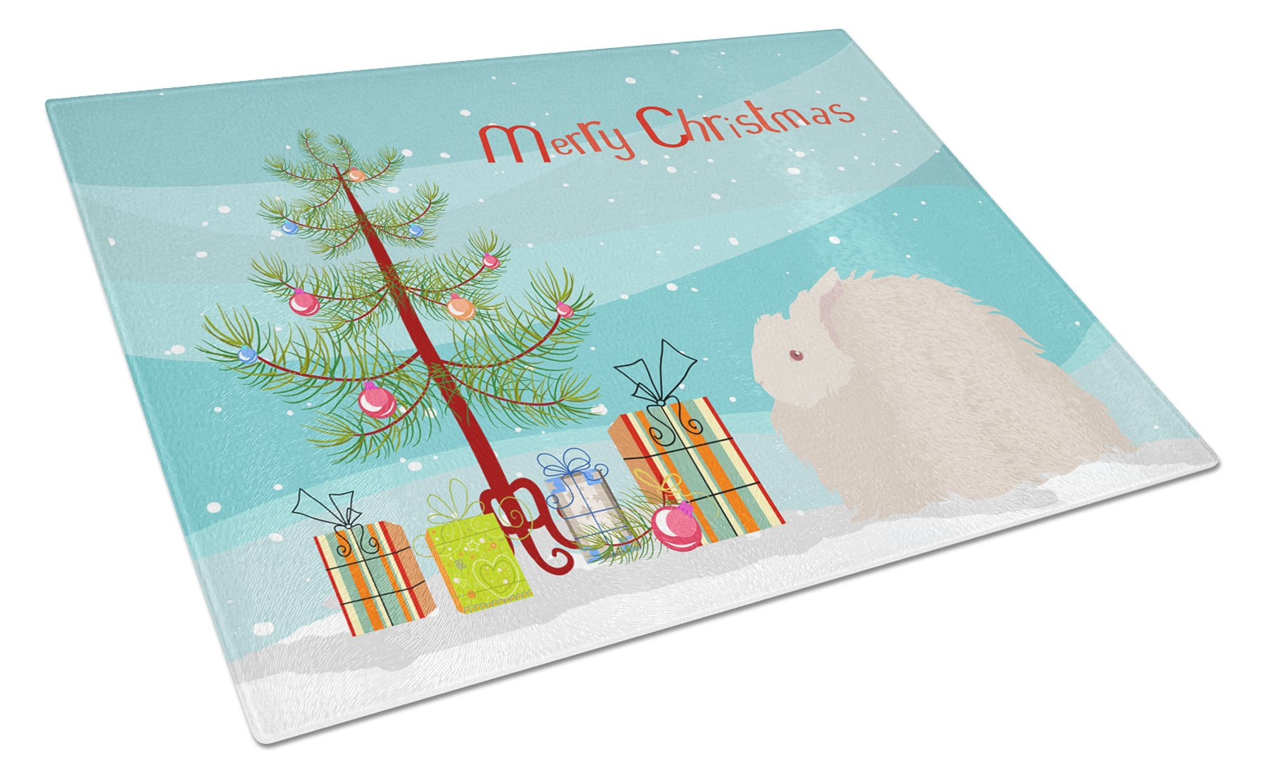 Fluffy Angora Rabbit Christmas Glass Cutting Board Large BB9326LCB by Caroline's Treasures