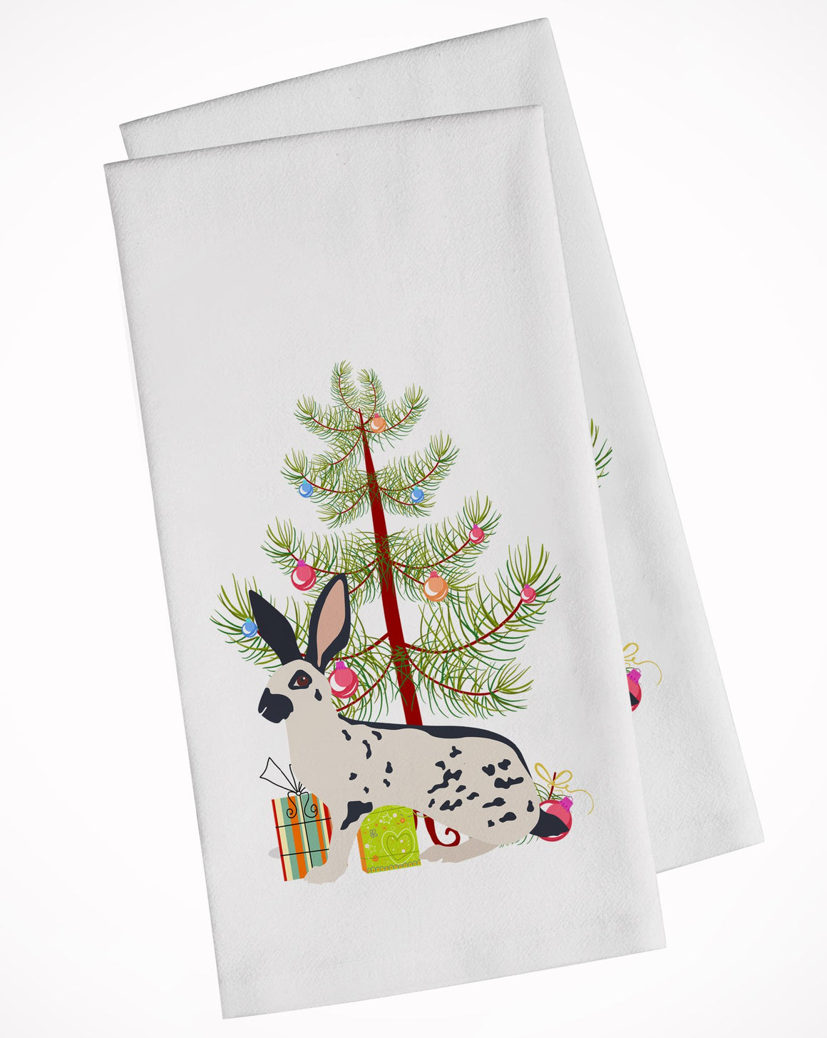 Buy this English Spot Rabbit Christmas White Kitchen Towel Set of 2 BB9328WTKT