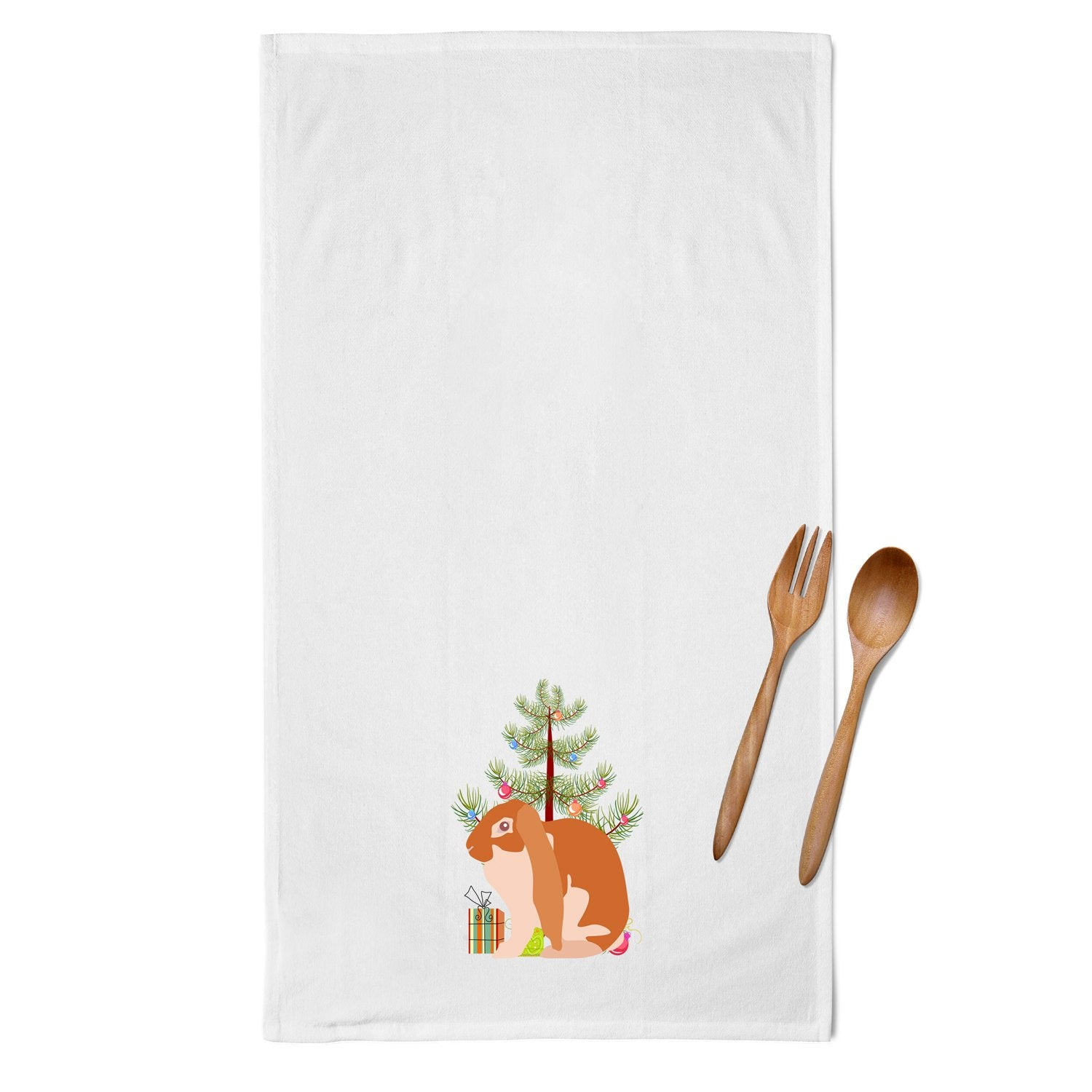 English Lop Rabbit Christmas White Kitchen Towel Set of 2 BB9329WTKT by Caroline's Treasures