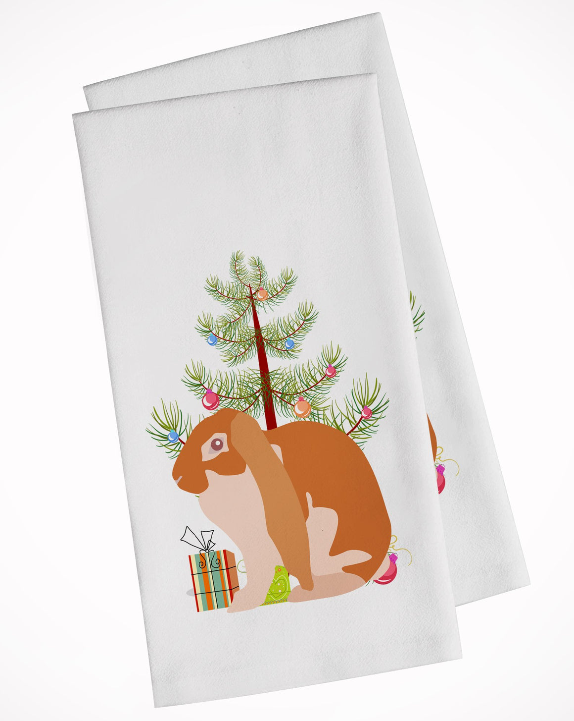 Buy this English Lop Rabbit Christmas White Kitchen Towel Set of 2 BB9329WTKT