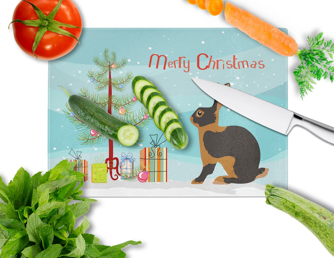 Tan Rabbit Christmas Glass Cutting Board Large BB9330LCB by Caroline's Treasures