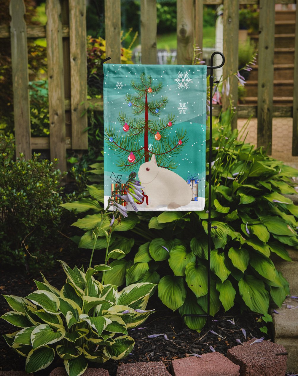 Hermelin Rabbit Christmas Flag Garden Size BB9331GF by Caroline's Treasures