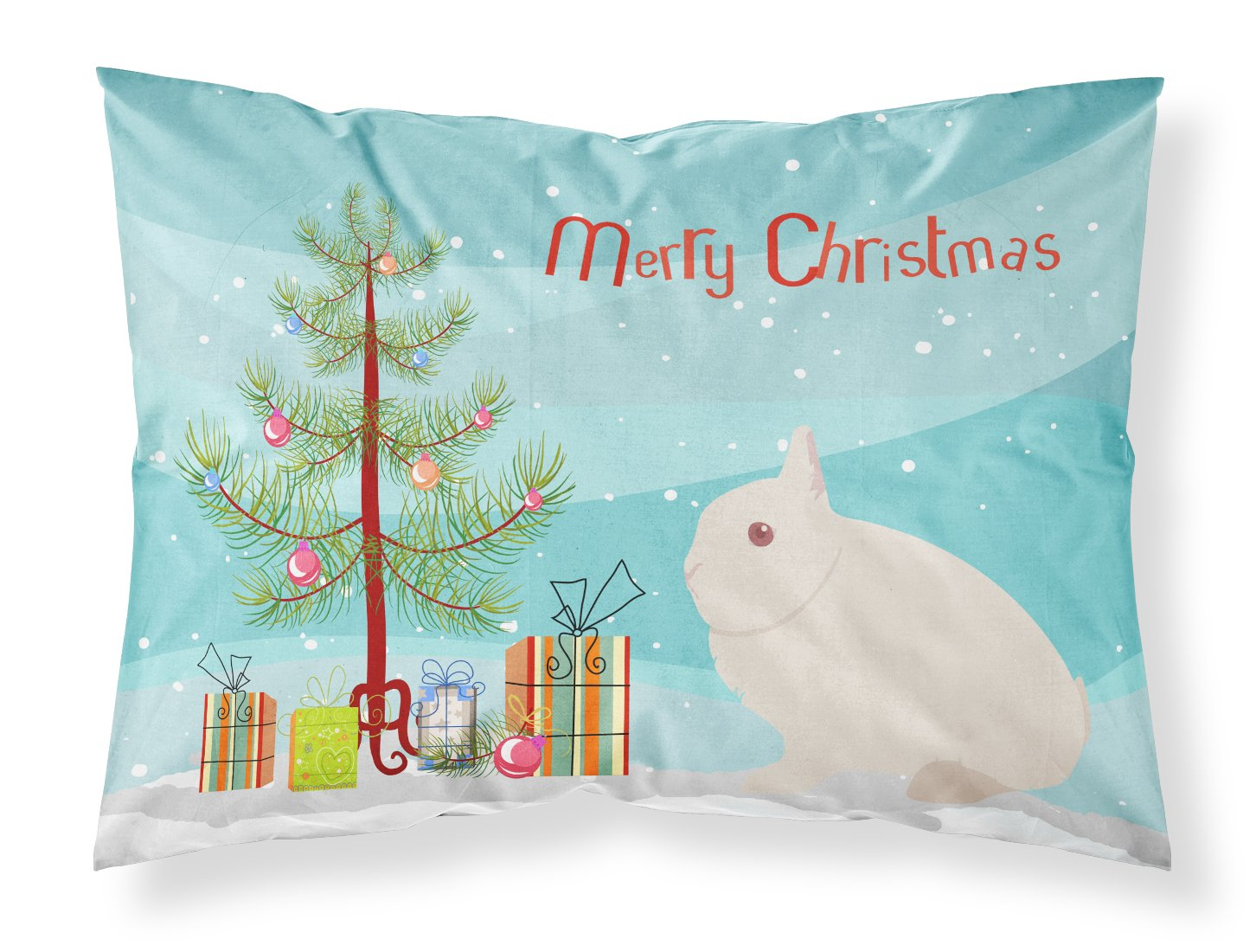 Hermelin Rabbit Christmas Fabric Standard Pillowcase BB9331PILLOWCASE by Caroline's Treasures