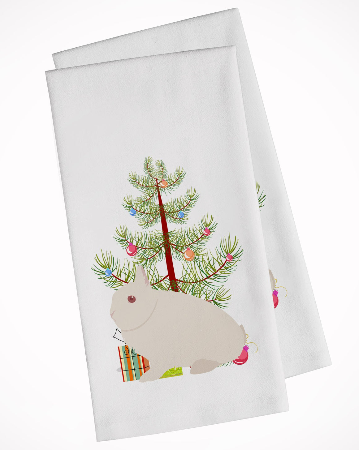 Buy this Hermelin Rabbit Christmas White Kitchen Towel Set of 2 BB9331WTKT