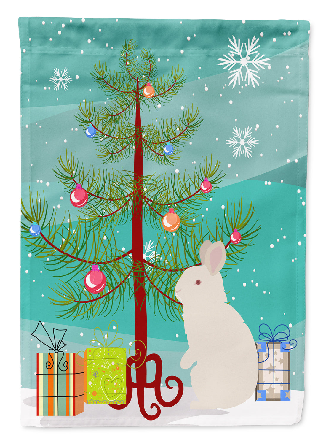 New Zealand White Rabbit Christmas Flag Canvas House Size BB9332CHF by Caroline's Treasures