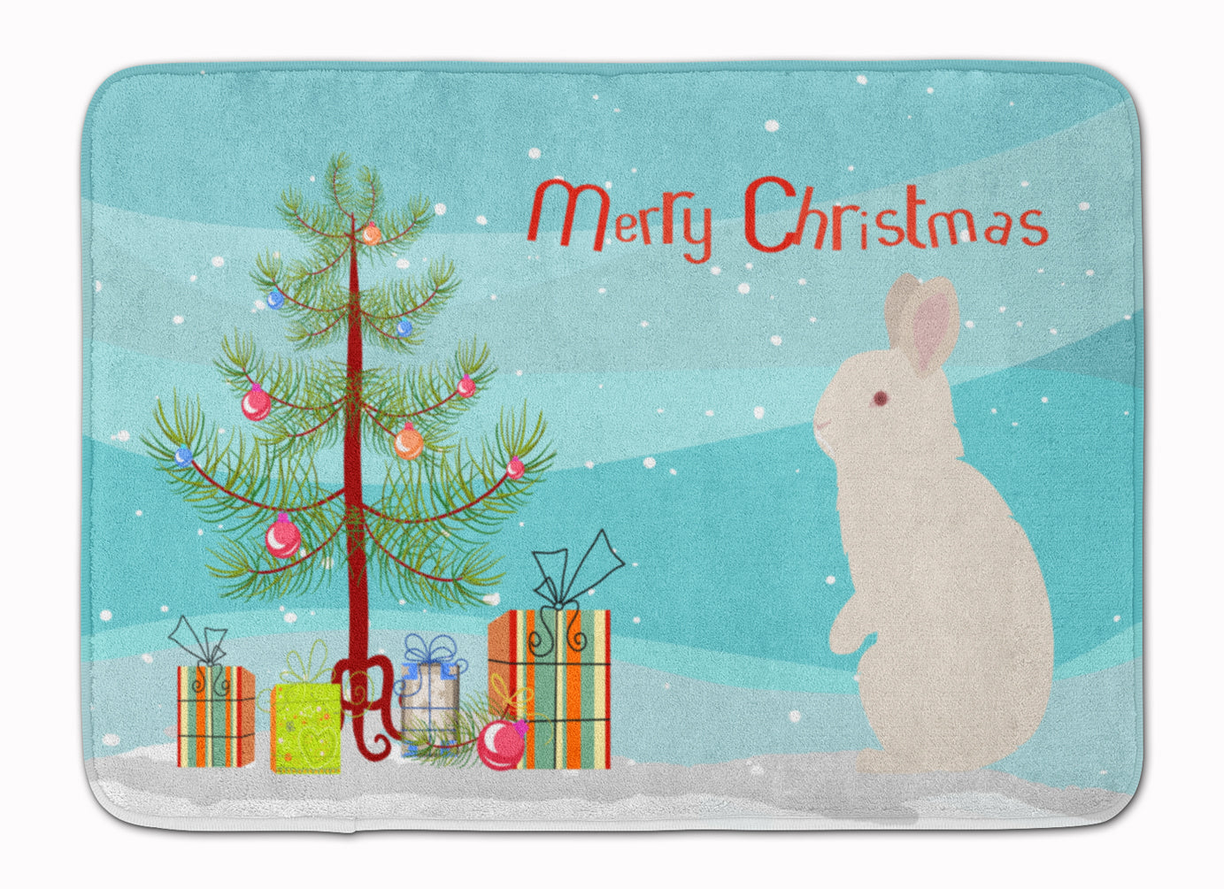 New Zealand White Rabbit Christmas Machine Washable Memory Foam Mat BB9332RUG by Caroline's Treasures