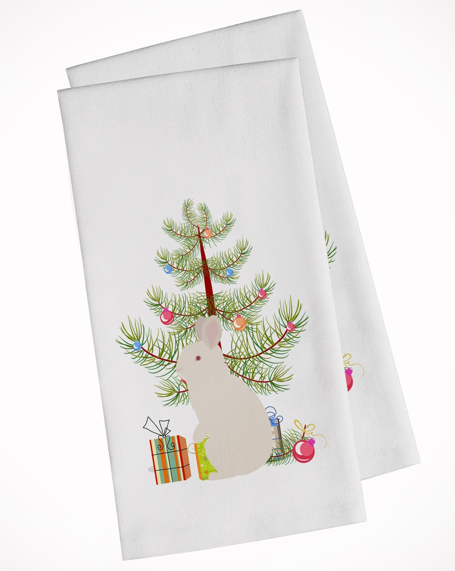 New Zealand White Rabbit Christmas White Kitchen Towel Set of 2 BB9332WTKT by Caroline's Treasures