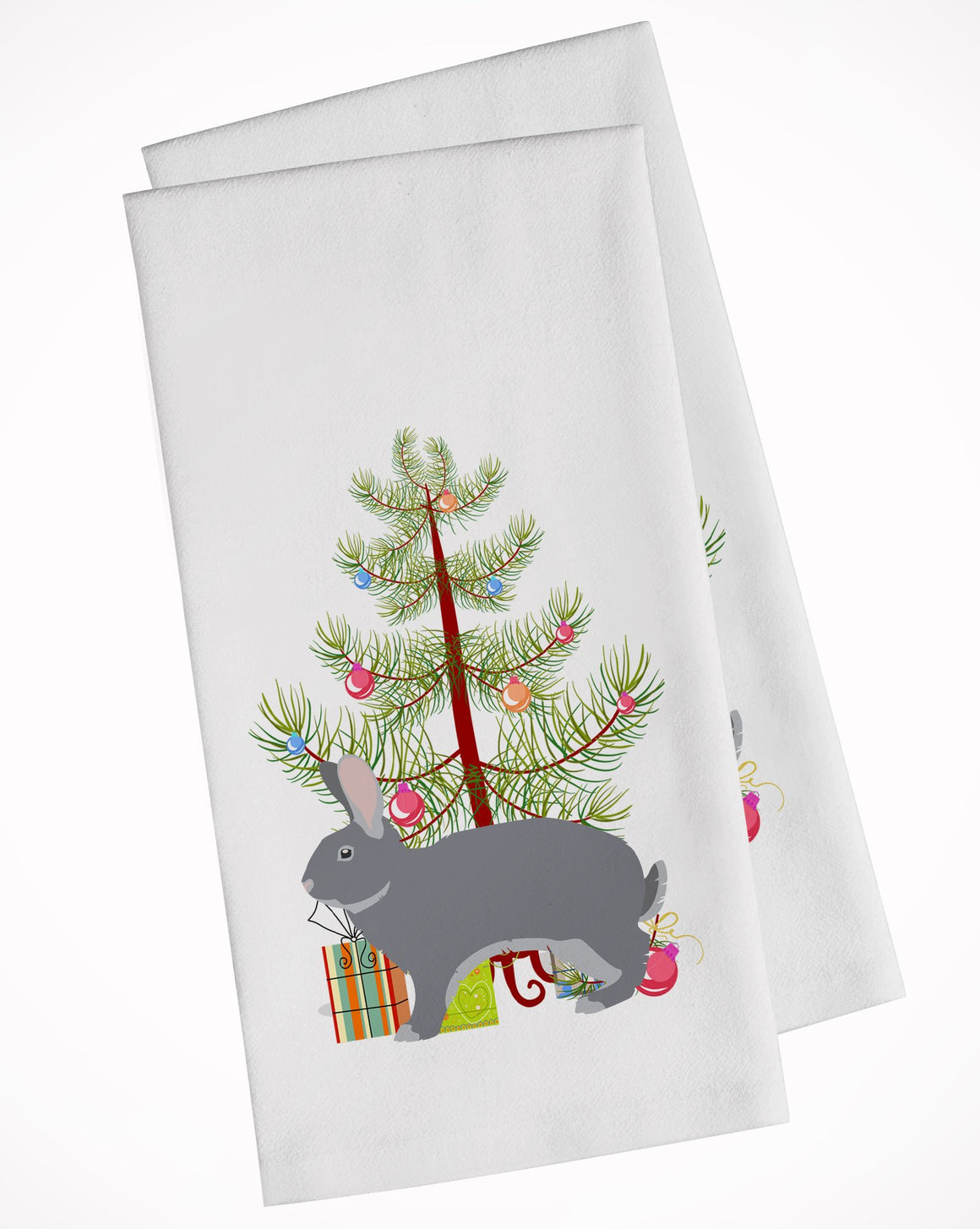 Buy this Giant Chinchilla Rabbit Christmas White Kitchen Towel Set of 2 BB9333WTKT
