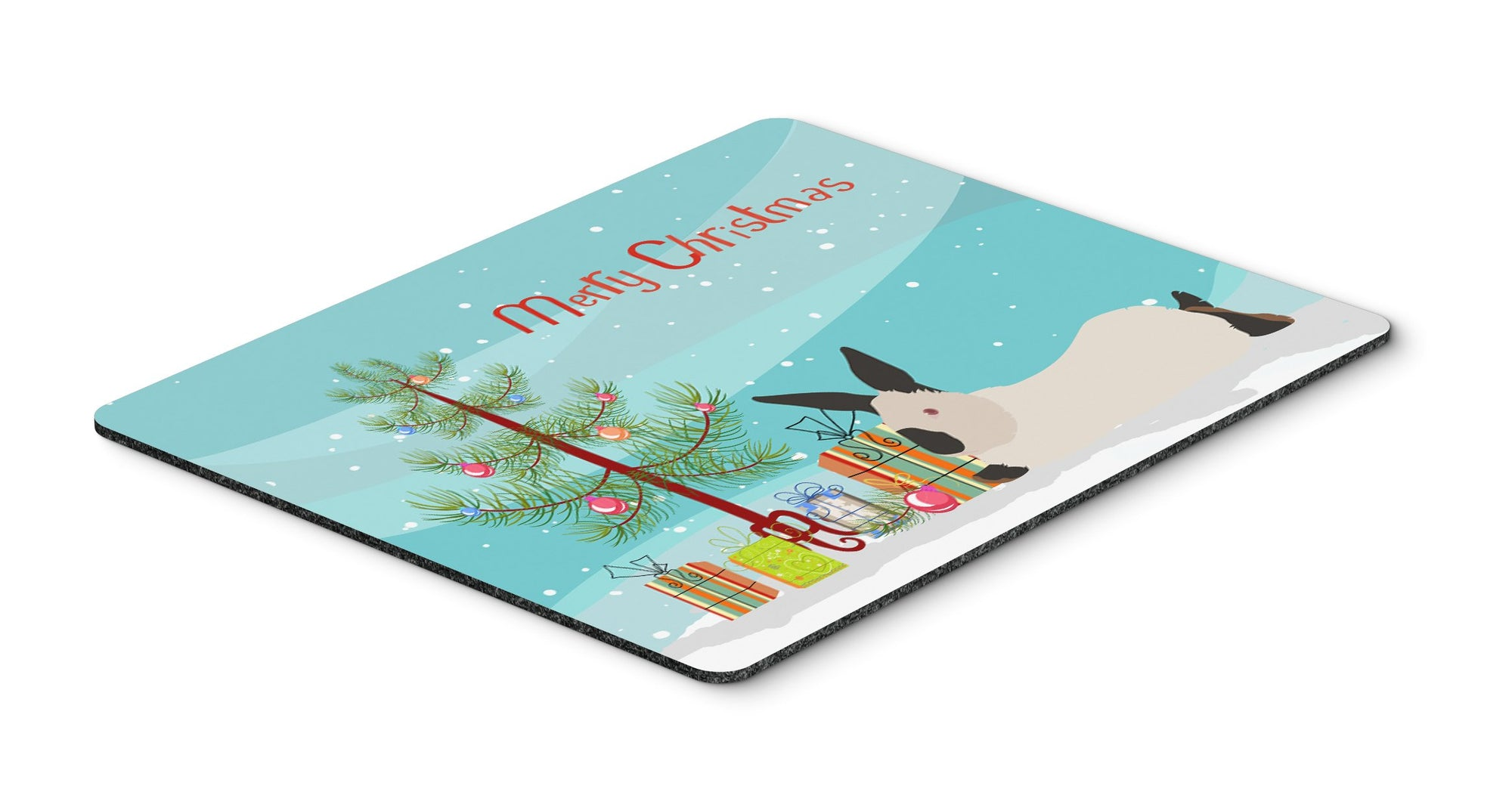 California White Rabbit Christmas Mouse Pad, Hot Pad or Trivet BB9334MP by Caroline's Treasures