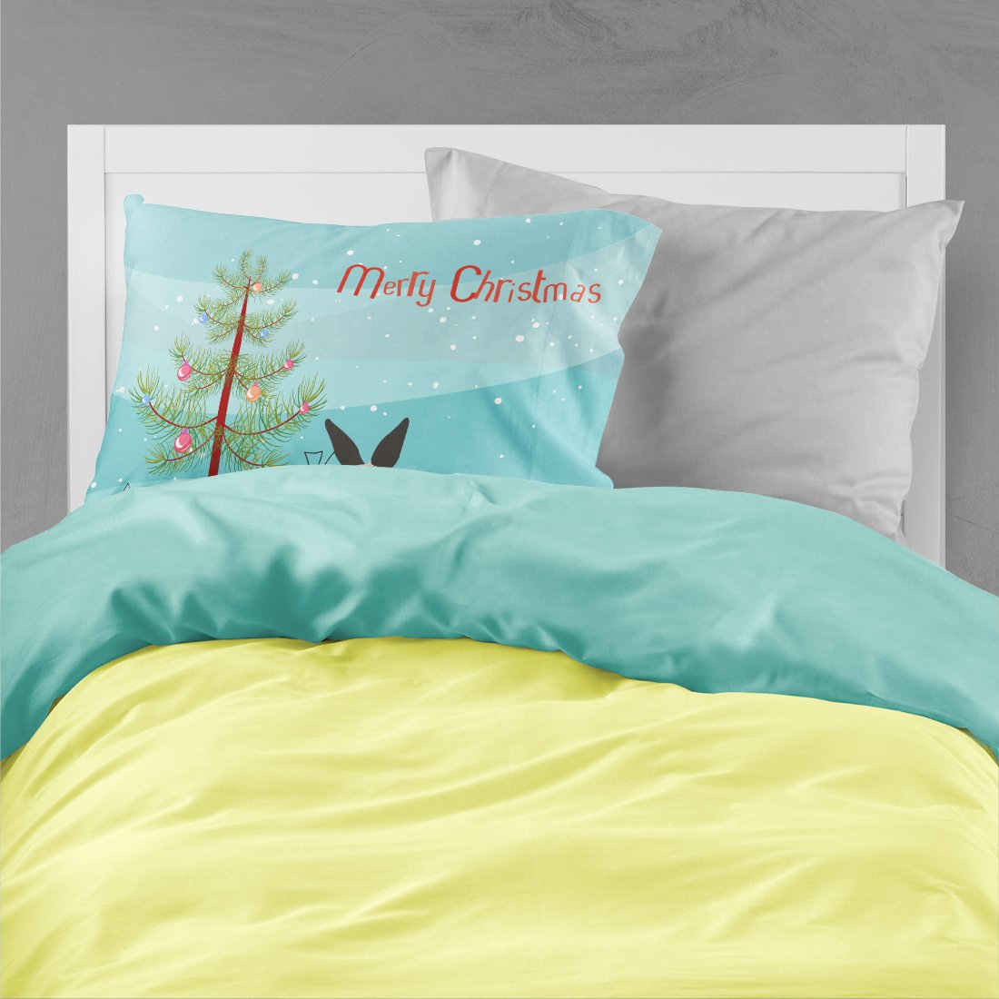 California White Rabbit Christmas Fabric Standard Pillowcase BB9334PILLOWCASE by Caroline's Treasures