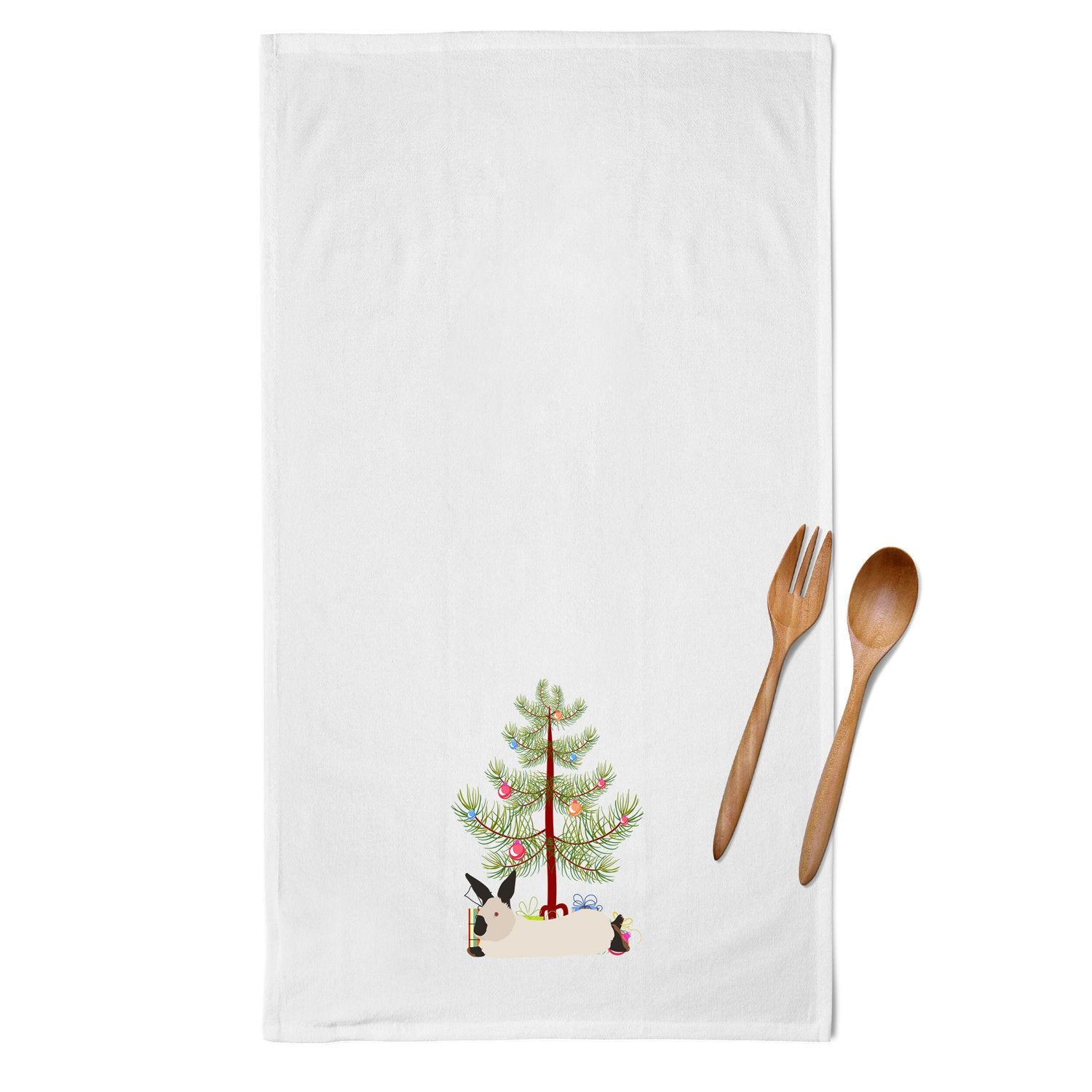 California White Rabbit Christmas White Kitchen Towel Set of 2 BB9334WTKT by Caroline's Treasures