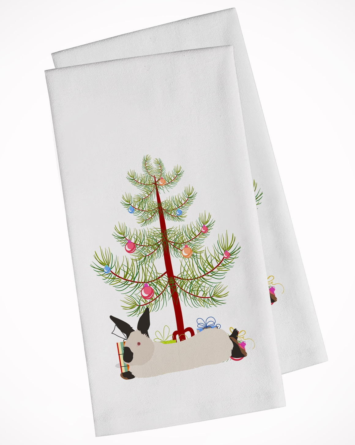 Buy this California White Rabbit Christmas White Kitchen Towel Set of 2 BB9334WTKT
