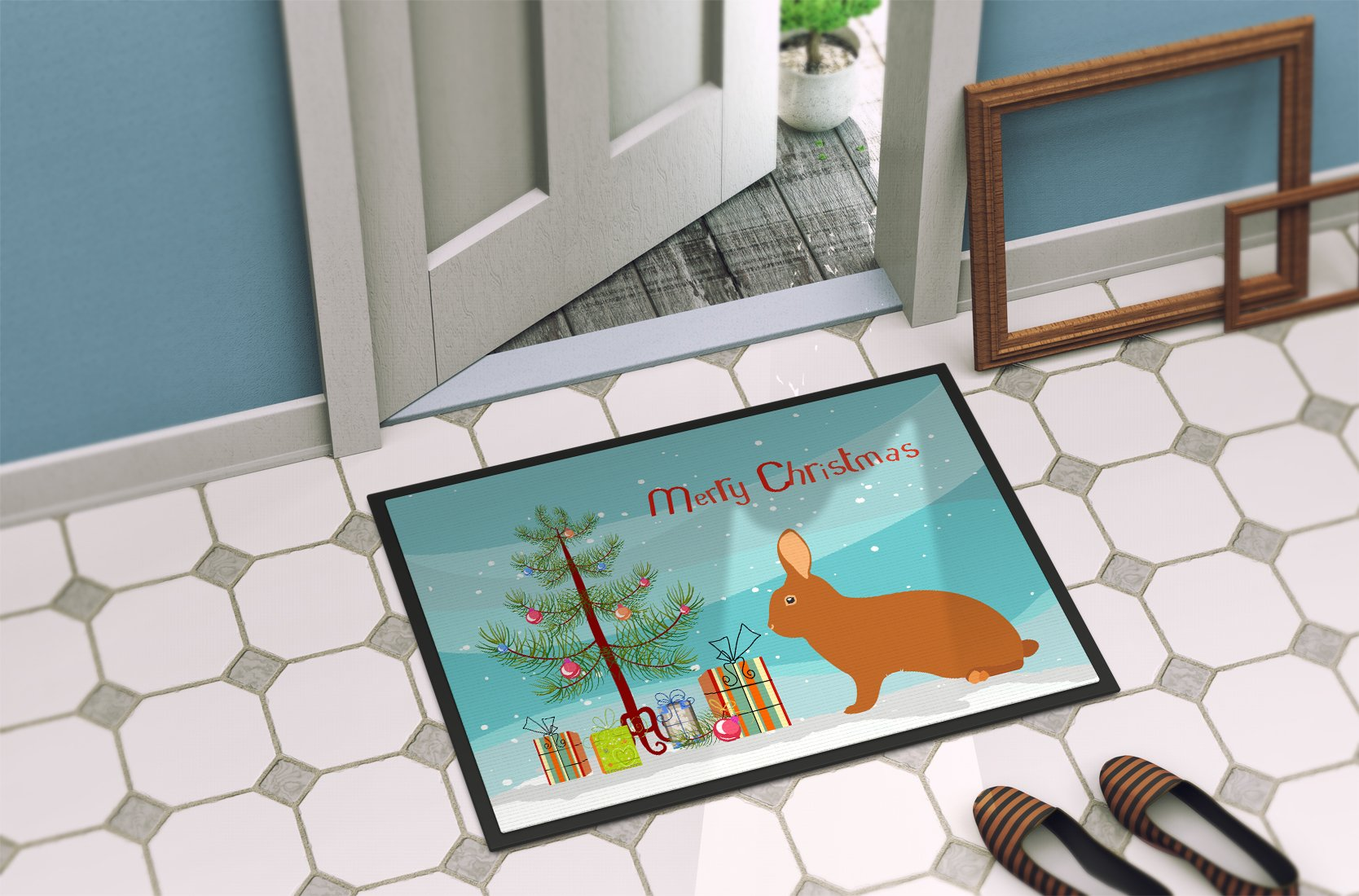 Rex Rabbit Christmas Indoor or Outdoor Mat 24x36 BB9336JMAT by Caroline's Treasures