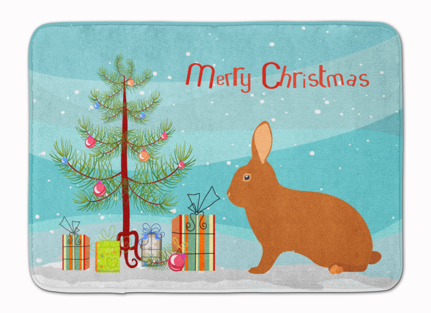 Rex Rabbit Christmas Machine Washable Memory Foam Mat BB9336RUG by Caroline's Treasures