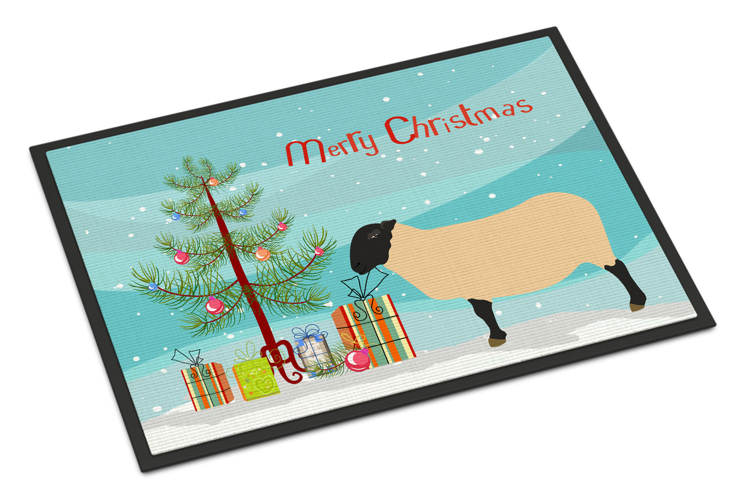 Suffolk Sheep Christmas Indoor or Outdoor Mat 18x27 BB9339MAT by Caroline's Treasures