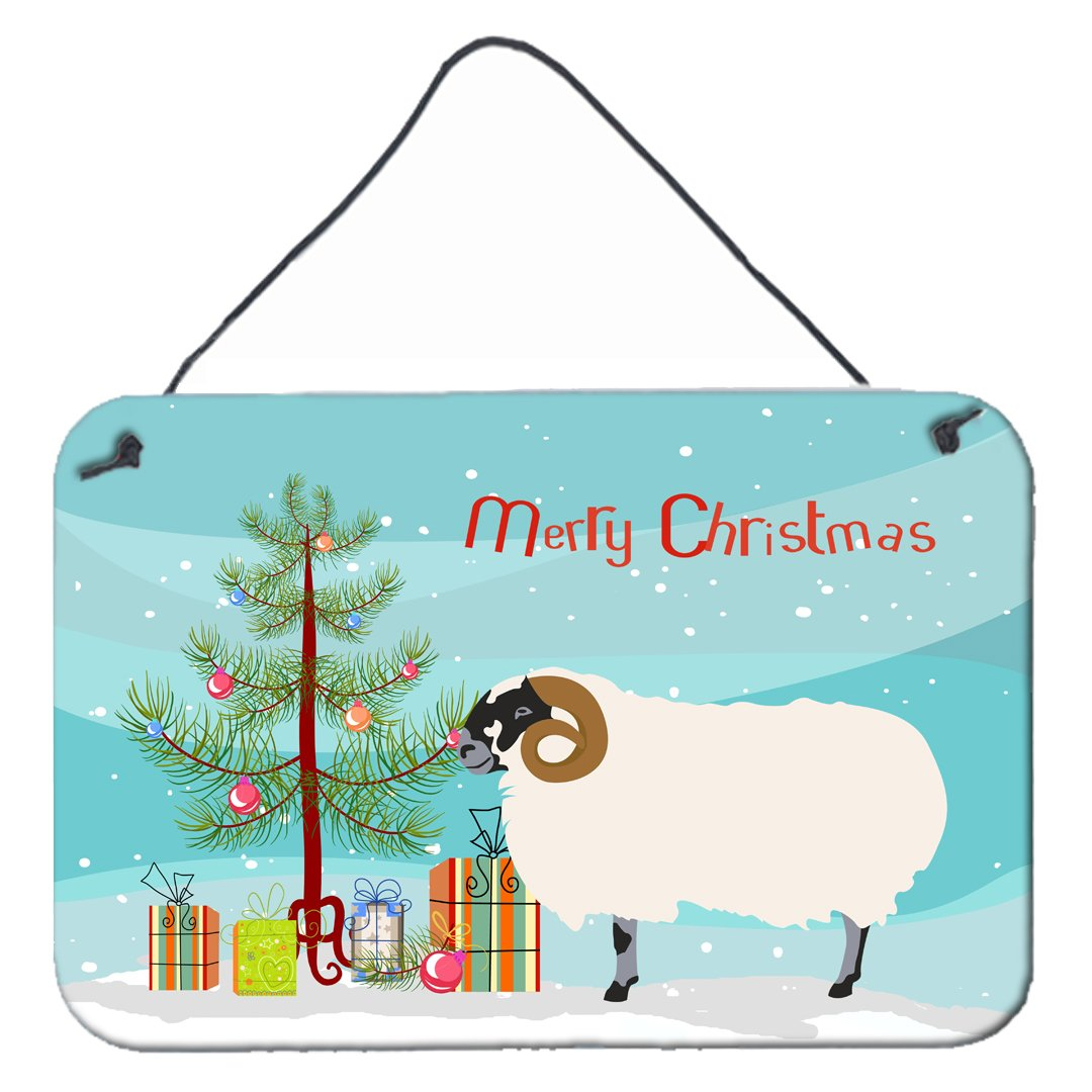 Scottish Blackface Sheep Christmas Wall or Door Hanging Prints BB9340DS812 by Caroline's Treasures