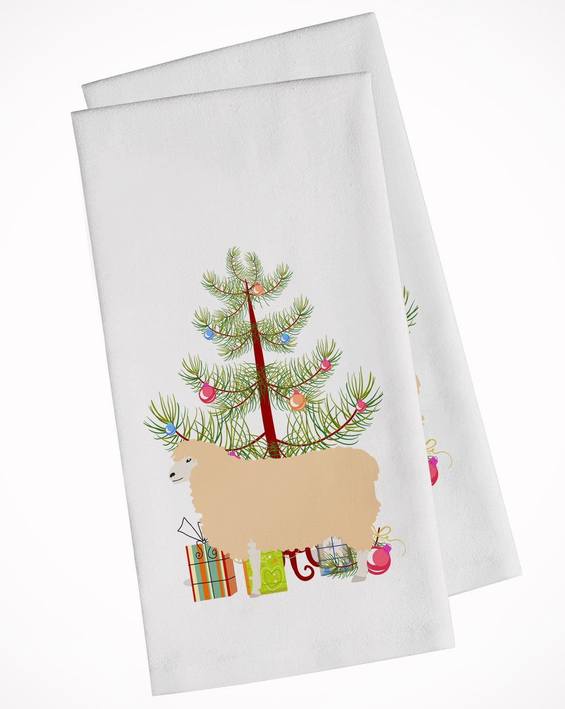 Buy this English Leicester Longwool Sheep Christmas White Kitchen Towel Set of 2 BB9341WTKT