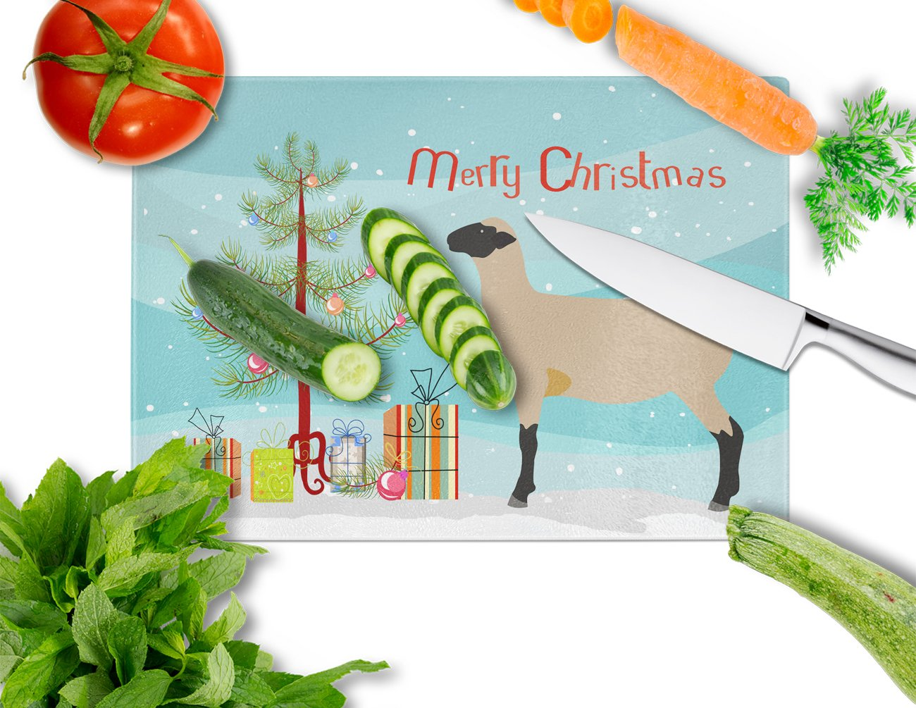 Hampshire Down Sheep Christmas Glass Cutting Board Large BB9343LCB by Caroline's Treasures
