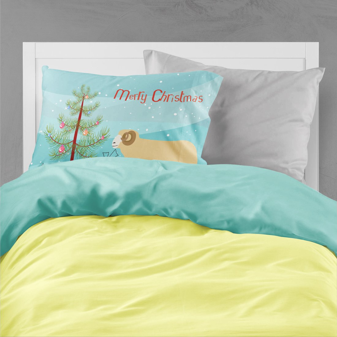 Buy this Horned Dorset Sheep Christmas Fabric Standard Pillowcase BB9347PILLOWCASE