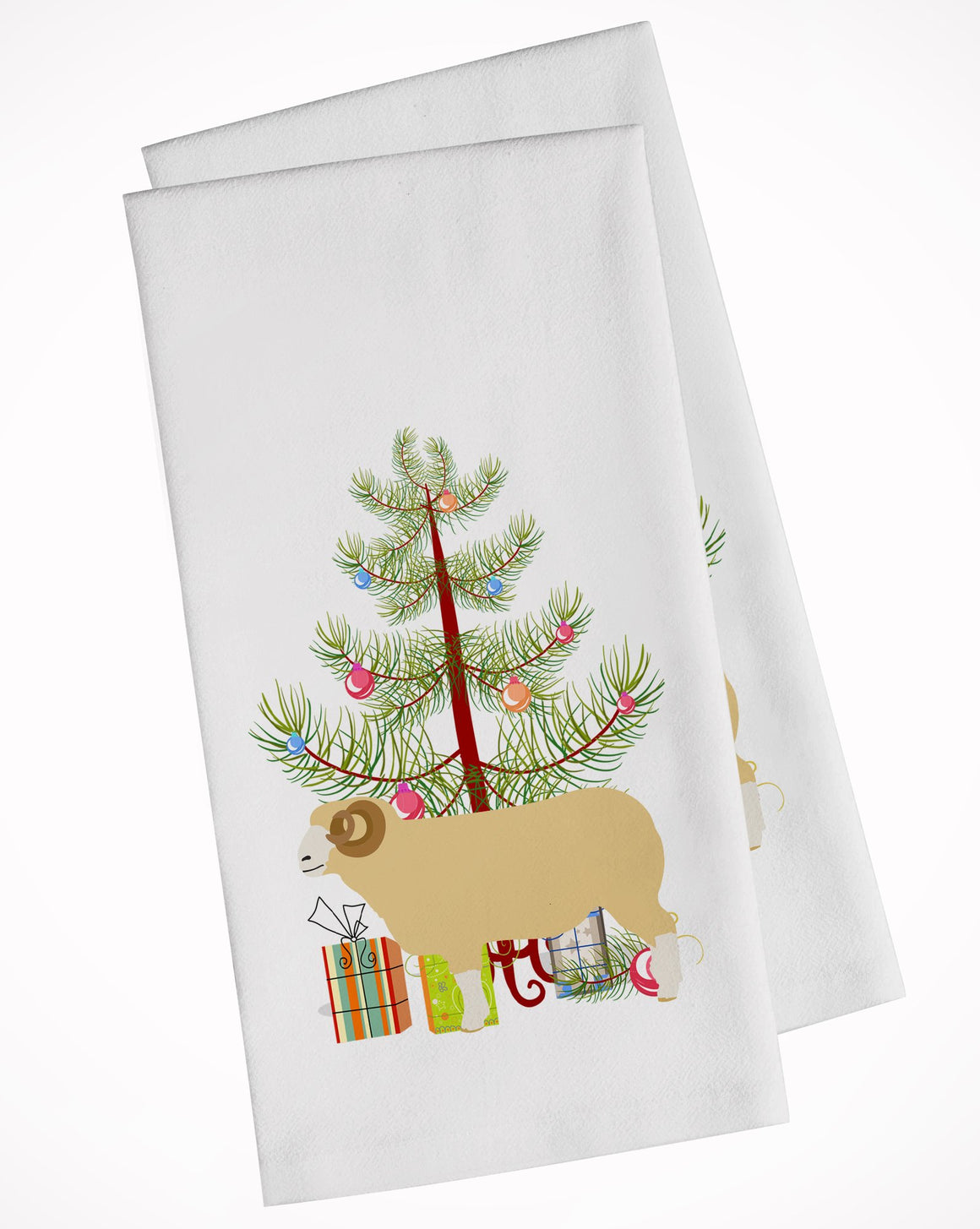 Buy this Horned Dorset Sheep Christmas White Kitchen Towel Set of 2 BB9347WTKT