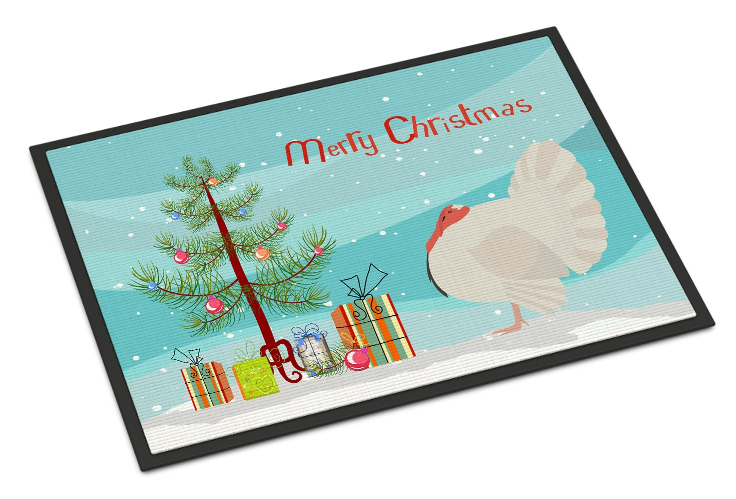 White Holland Turkey Christmas Indoor or Outdoor Mat 24x36 BB9350JMAT by Caroline's Treasures