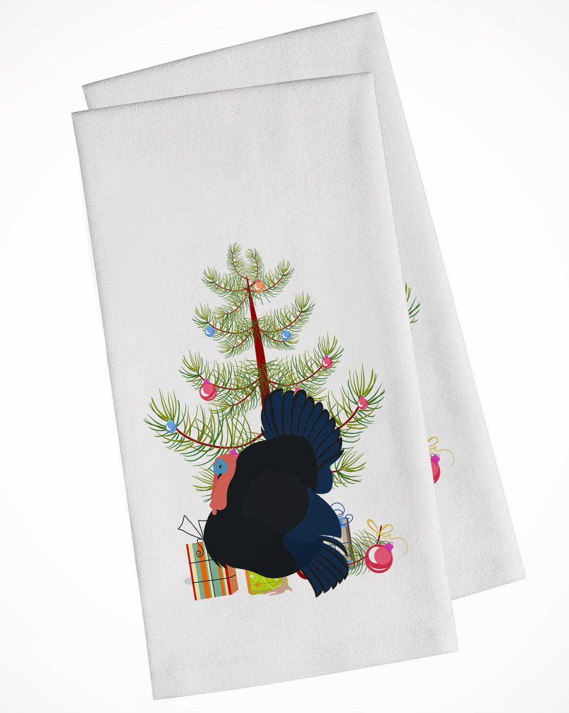 Buy this Norfolk Black Turkey Christmas White Kitchen Towel Set of 2 BB9352WTKT