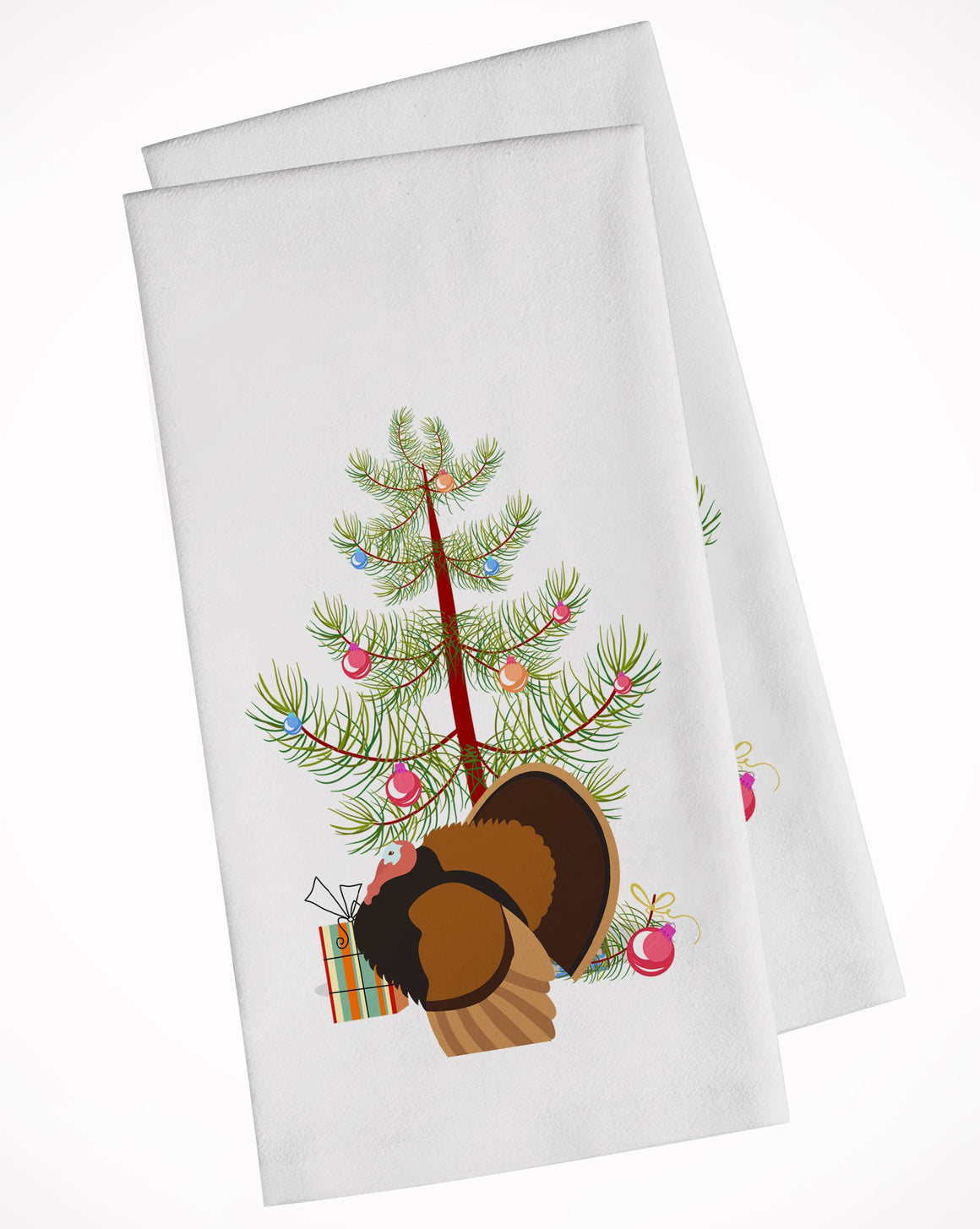 Buy this Bronze Turkey Christmas White Kitchen Towel Set of 2 BB9353WTKT