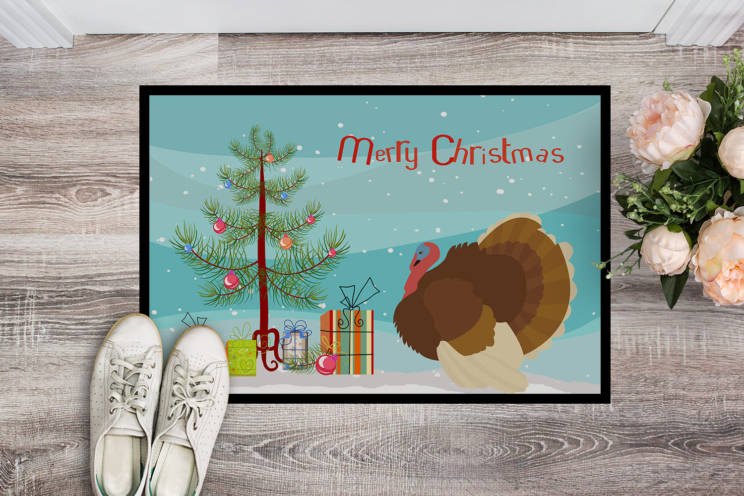 French Turkey Dindon Christmas Indoor or Outdoor Mat 18x27 BB9357MAT by Caroline's Treasures