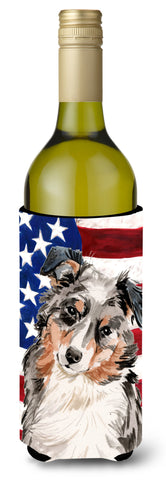 Buy this Australian Shepherd Patriotic Wine Bottle Beverge Insulator Hugger BB9362LITERK