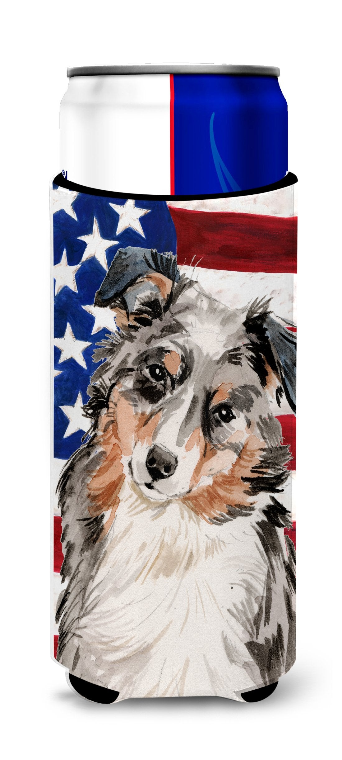 Australian Shepherd Patriotic Michelob Ultra Hugger for slim cans BB9362MUK by Caroline's Treasures