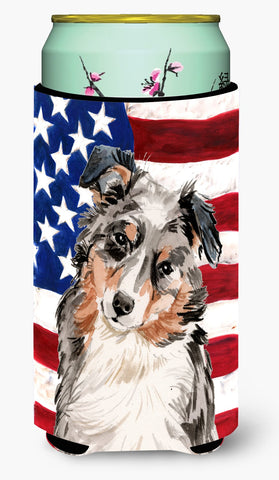 Buy this Australian Shepherd Patriotic Tall Boy Beverage Insulator Hugger BB9362TBC