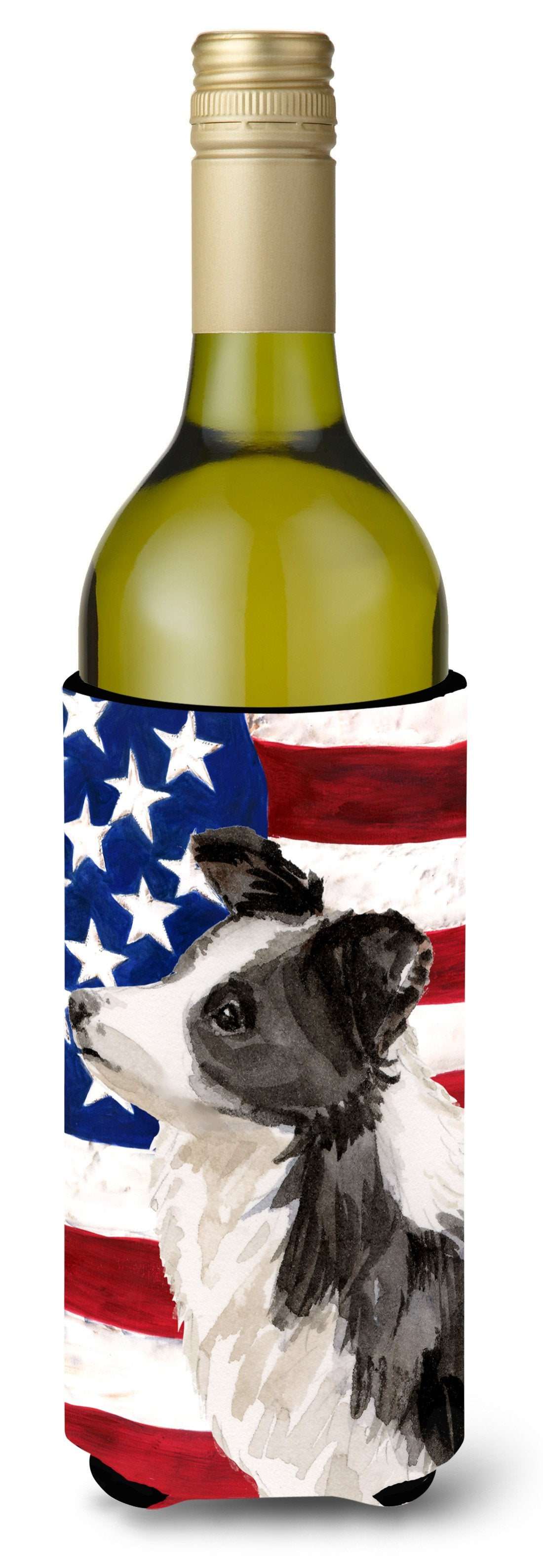 Border Collie Patriotic Wine Bottle Beverge Insulator Hugger BB9373LITERK by Caroline's Treasures