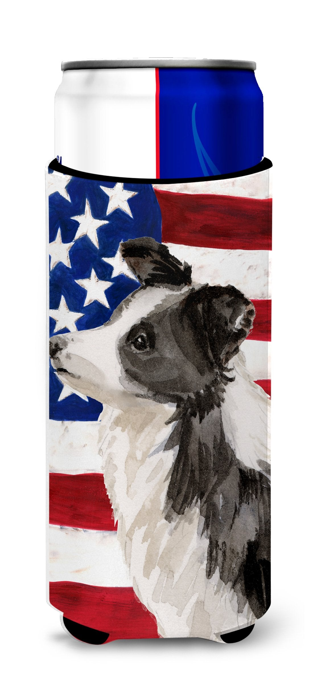 Border Collie Patriotic Michelob Ultra Hugger for slim cans BB9373MUK by Caroline's Treasures