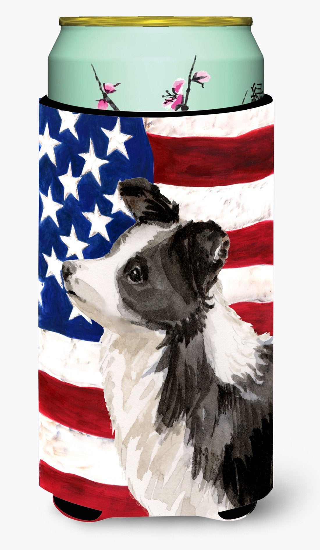 Border Collie Patriotic Tall Boy Beverage Insulator Hugger BB9373TBC by Caroline's Treasures