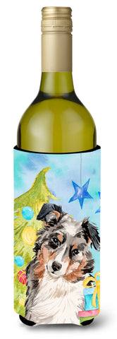 Buy this Australian Shepherd Christmas Wine Bottle Beverge Insulator Hugger BB9397LITERK