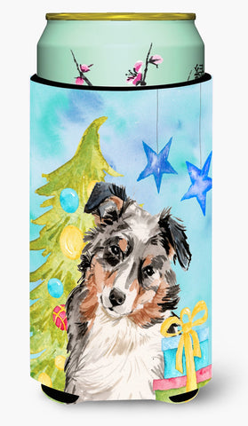 Buy this Australian Shepherd Christmas Tall Boy Beverage Insulator Hugger BB9397TBC