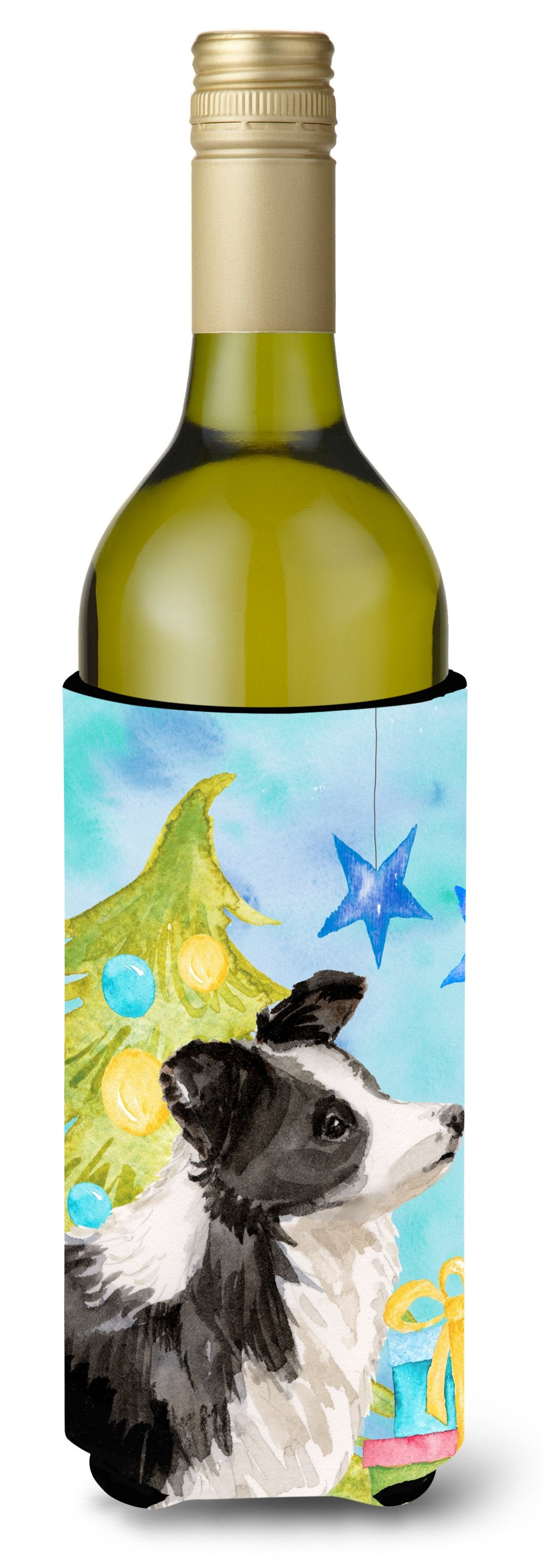 Border Collie Christmas Wine Bottle Beverge Insulator Hugger BB9408LITERK by Caroline's Treasures
