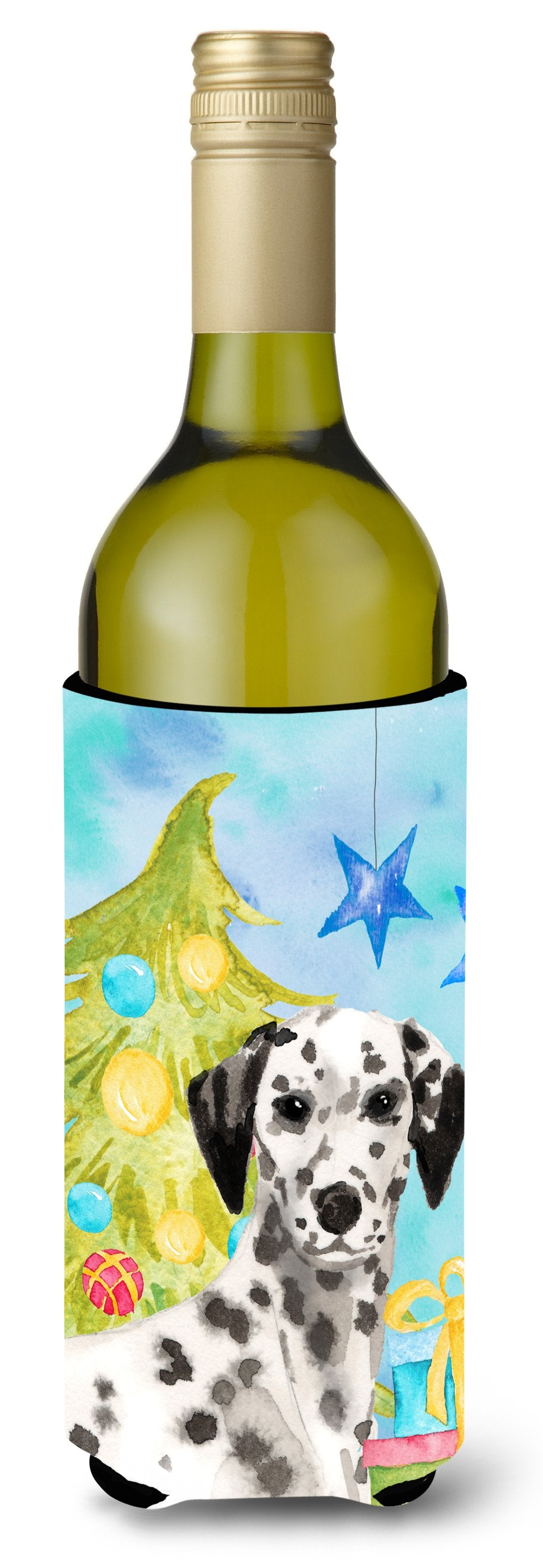 Dalmatian Christmas Wine Bottle Beverge Insulator Hugger BB9415LITERK by Caroline's Treasures