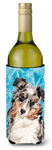 Buy this Australian Shepherd Winter Wine Bottle Beverge Insulator Hugger BB9432LITERK