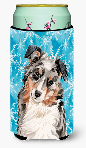 Buy this Australian Shepherd Winter Tall Boy Beverage Insulator Hugger BB9432TBC