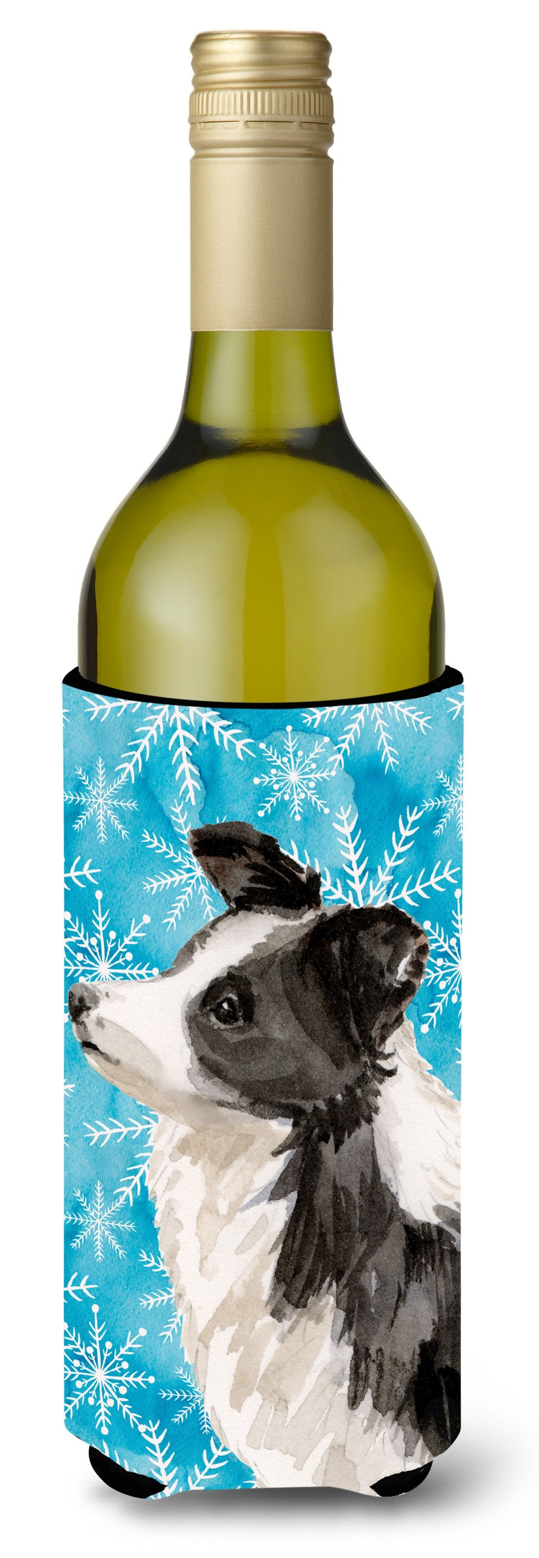 Border Collie Winter Wine Bottle Beverge Insulator Hugger BB9443LITERK by Caroline's Treasures