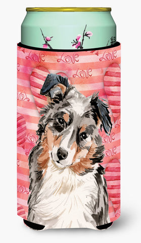 Buy this Australian Shepherd Love Tall Boy Beverage Insulator Hugger BB9467TBC