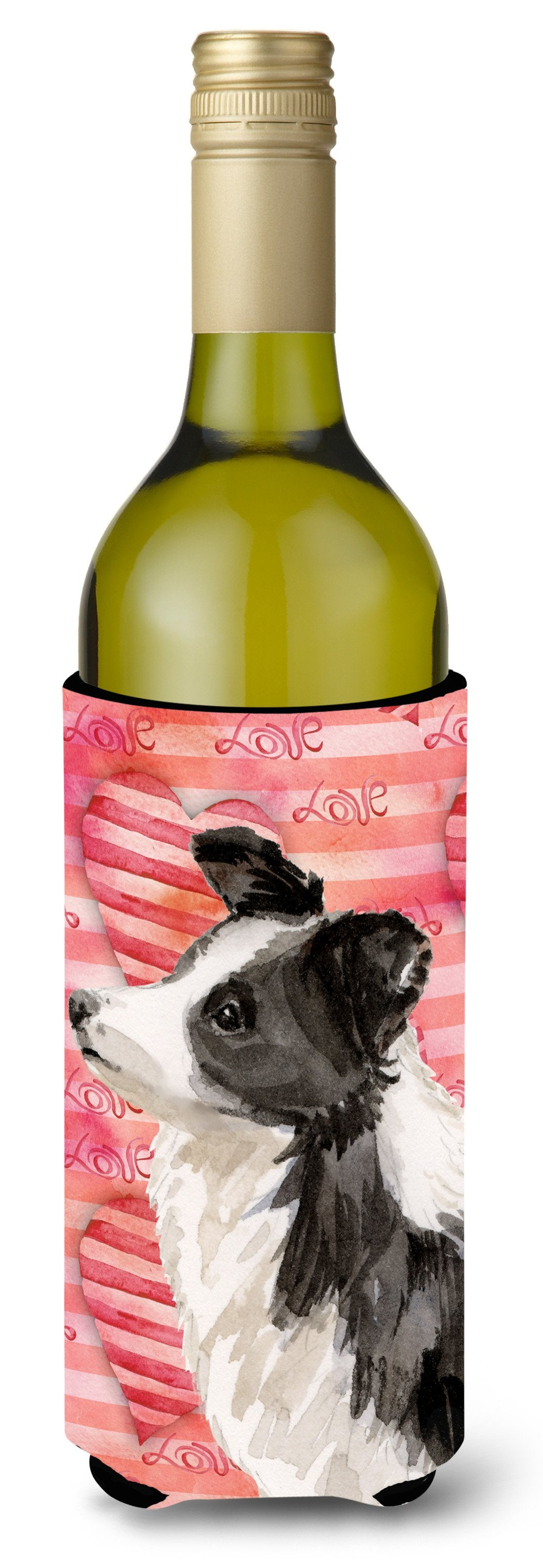 Border Collie Love Wine Bottle Beverge Insulator Hugger BB9478LITERK by Caroline's Treasures
