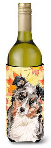 Buy this Australian Shepherd Fall Wine Bottle Beverge Insulator Hugger BB9502LITERK