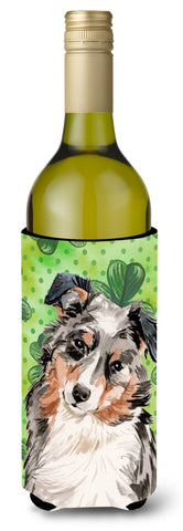Buy this Australian Shepherd St. Patrick's Wine Bottle Beverge Insulator Hugger BB9537LITERK